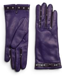 Portolano Leather Dotted Trim Gloves - Lyst