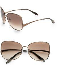 Roberto Cavalli Menta Metal Square Aviator Sunglassesbronze - Lyst