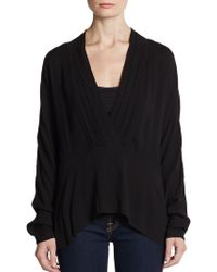 Thakoon Addition Pleated V-Neck Cotton Top - Lyst