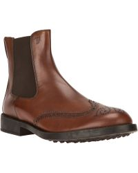 Tod's Brogue Detailed Chelsea Boot - Lyst