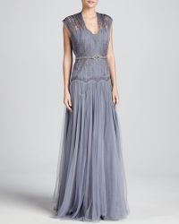 Catherine Deane Odele Embroidered Tulle Belted Gown - Lyst