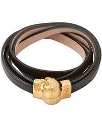 Alexander McQueen Skull Multi Rows Leather Bracelet - Lyst