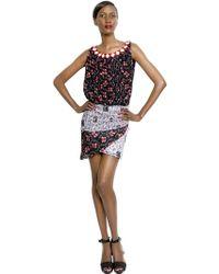Cher Michel Klein Embroidered Silk Chiffon Dress - Lyst