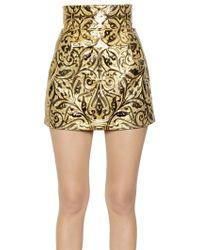 Dolce & Gabbana Embossed Pvc High Waisted Mini Skirt - Lyst