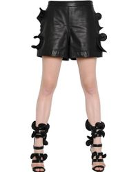 Emanuel Ungaro - Ruffled Leather Shorts - Lyst