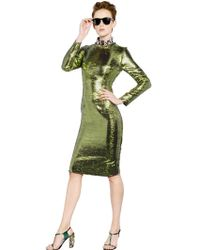 Lanvin Long Sleeved Metallic Dress - Lyst