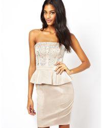 Lipsy Strapless Embellished Peplum Dress - Lyst