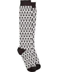 McQ | Cross Pattern Cotton Blend Knit Socks | Lyst