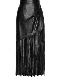 Tamara Mellon - Fringed Wrapeffect Leather Skirt - Lyst