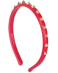 Valentino Around Studs Leather Headband - Lyst