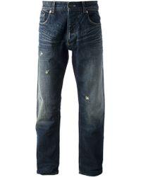 Armani Jeans Distressed Straight Leg Jean - Lyst