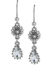 Betsey Johnson Crystal Teardrop Flower Double Drop Earrings - Lyst