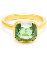 Marie-hélène De Taillac - 22k Gold and Green Tourmaline Princess Ring - Lyst