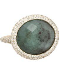 Monique Pean Atelier - Pavé Diamond & Emerald Slice Ring - Lyst