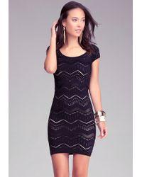 Bebe Chevron Stitch Bodycon Dress - Lyst