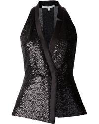 Veronica Beard Sequin Tuxedo Top black - Lyst