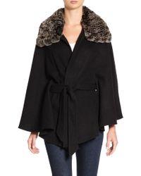 Annabelle New York - Julia Rex Rabbit Fur Collar Cape - Lyst