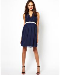 Asos Maternity Lace Skater Dress with Scalloped Top - Lyst