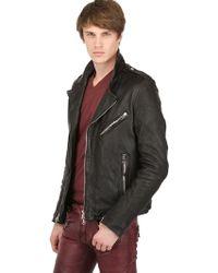 Balmain Double Zipped Leather Biker Jacket - Lyst