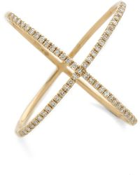 Ef Collection Pave Gold Diamond X Ring - Lyst