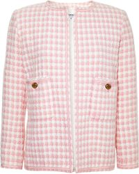 Chanel Chanel Pink and White Boucle Jacket From What Goes Around Comes Around - Lyst