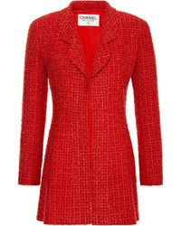 Chanel Chanel Red Boucle Jacket  - Lyst