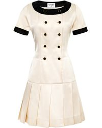 Chanel Chanel White Satin Dress with Black Trim From What Goes Around Comes Around - Lyst