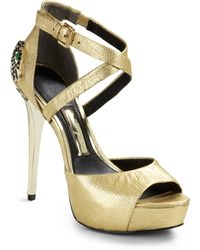 Boutique 9 | Coverup Panther Embellished Metallic Leather Heels | Lyst