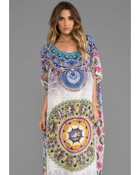 Camilla Portable Paradises Round Neck Kaftan in Blue - Lyst