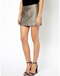 Mango Metallic Mini Skirt - Lyst