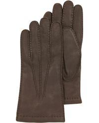 Moreschi - Dark Brown Deerskin Leather Men's Gloves W/cashmere Lining - Lyst