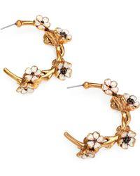 Oscar de la Renta Crystal-Adorned Floral Hoop Earrings/2.5 - Lyst