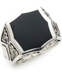 Stephen Webster Black Onyx Sterling Silver Signet Ring - Lyst
