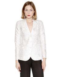 Emporio Armani Embroidered Habotai Silk Satin Jacket - Lyst