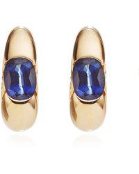 Portero 18k Yellow Gold and Sapphire Vintage Bulgari Hoop Earrings - Lyst