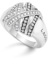Lagos - Sterling Silver Embrace Medium Diamond Wrap Ring - Lyst