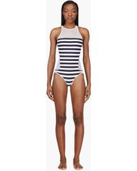 T By Alexander Wang White Striped Mesh Racerback One Piece Swimsuit - Lyst