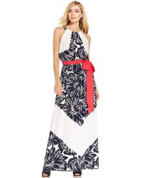 Vince Camuto Floral Chevron-Stripe Belted Maxi Dress - Lyst