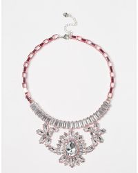 Lipsy - Pink Plated Crystal Collar Necklace - Lyst