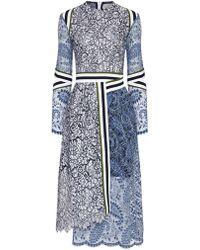 Preen Multi Lace Stripe Palairet Dress - Lyst