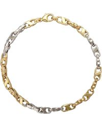 Lord & Taylor - 14k Yellow And White Gold Mens Bracelet - Lyst