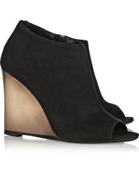 Burberry Prorsum Suede Wedge Boots - Lyst