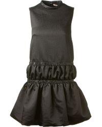 Christopher Kane Black Satin Effect Babydoll Dress - Lyst