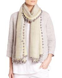 Eileen Fisher | Wool & Silk Pom-pom Scarf | Lyst