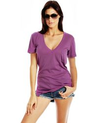 Wildfox Essentials V-Neck Pocket Tee Essentials V-Neck Pocket Tee - Lyst