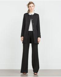 Zara | Black Coat With Pocket Detail | Lyst