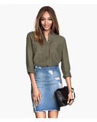 H&M Khaki Lyocell Shirt - Lyst