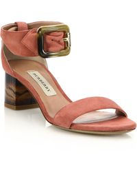 Burberry | Cashel Suede Marble-heeled Sandal | Lyst