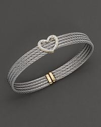 Charriol - Yellow Gold And Stainless Steel Heart Bangle Bracelet - Lyst
