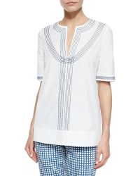Tory Burch Embroidered Poplin Tunic - Lyst